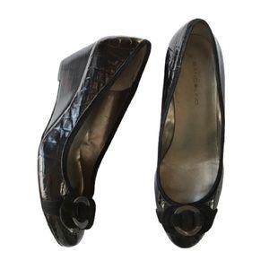 Bandolino Black Croc Wedges Heels Size 9